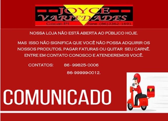 COMUNICADO - Loja Joyce Variedades