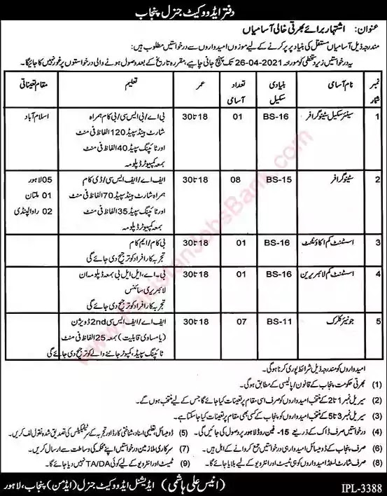 New Jobs in Pakistan Additional Advocate General Office Lahore Punjab Jobs 2021