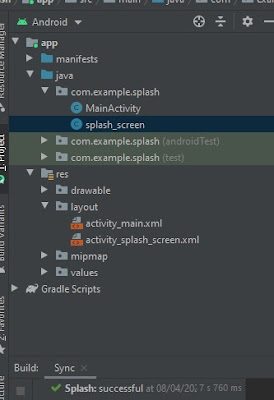 struktur project splash screen di android studio