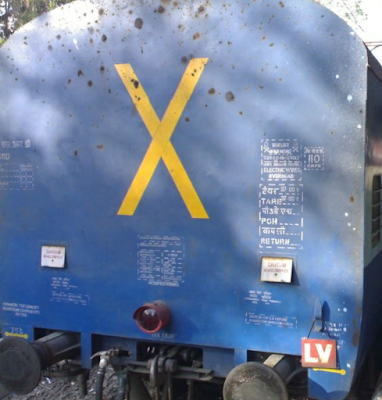 Why is the Cross Mark on back of last coach of a train ??