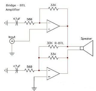 cara mudah mem BTL power amplifier
