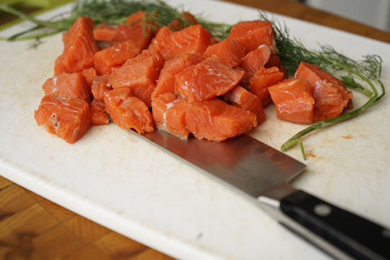 Salmon cut into cubes