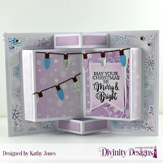 Stamp Set: True Light  Paper Collections: Christmas 2019  Custom Dies: Book Fold Card with Layers, Christmas Lights, Large Banner, Pennant Flags