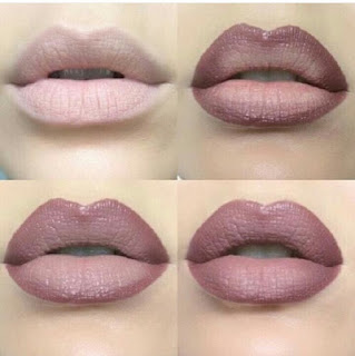 use nude and darker lipstick, fuller lips tricks