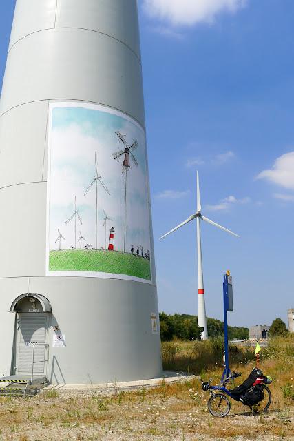 Tour de la Belgique en vélo,éoliennes
