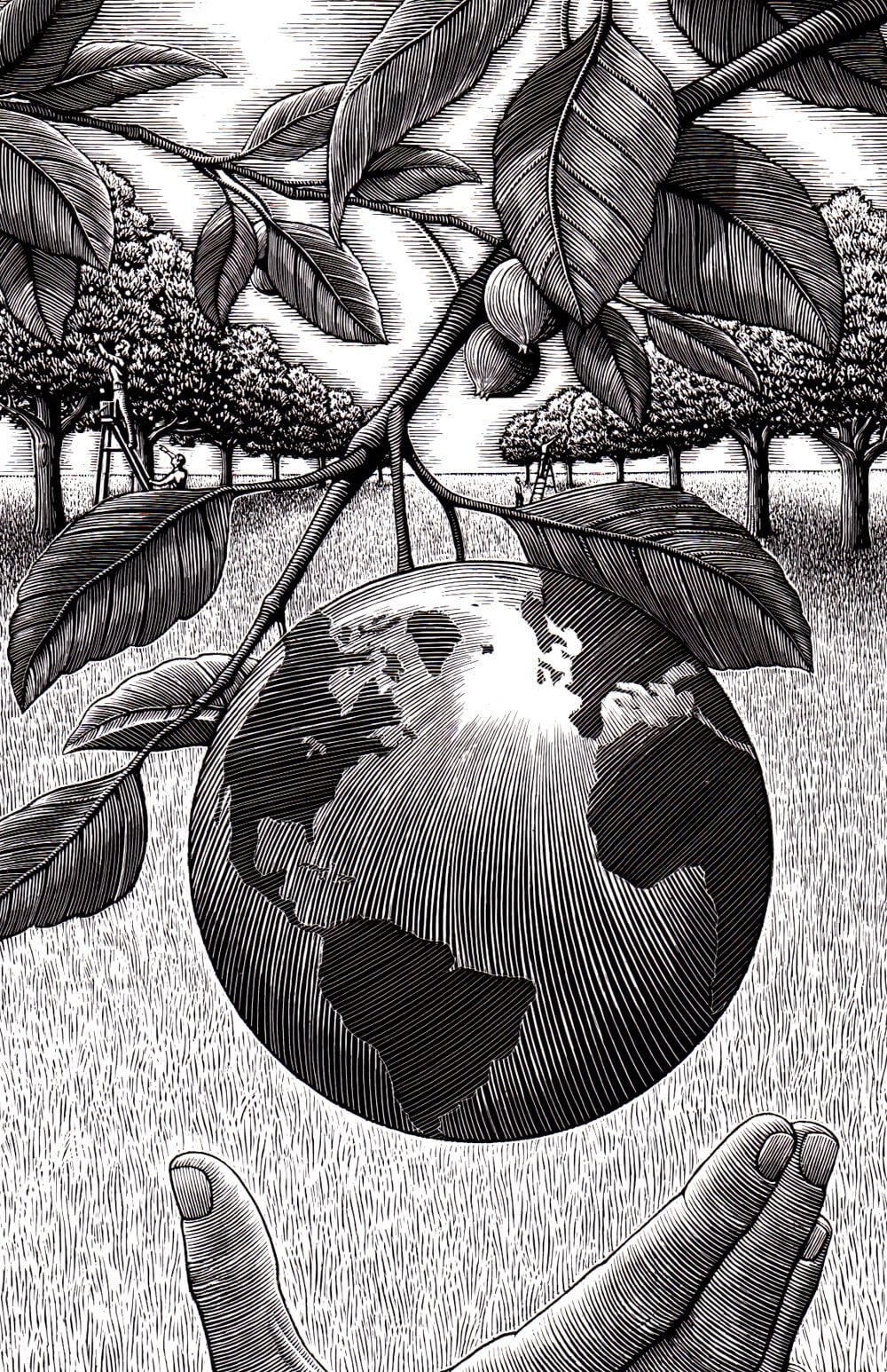 a Douglas Smith illustration, Earth as a fruit hanging from a tree