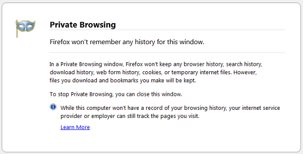 Private browsing mode in Mozilla Firefox.