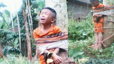 Bocah Ini Diikat di Pohon Seperti Maling, Netizen Marah dan Mencaci Orangtuanya