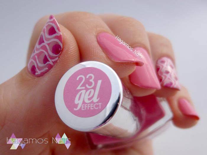 Nail Art Rosa Stamping. Deborah Milano. Hagamos Nails.