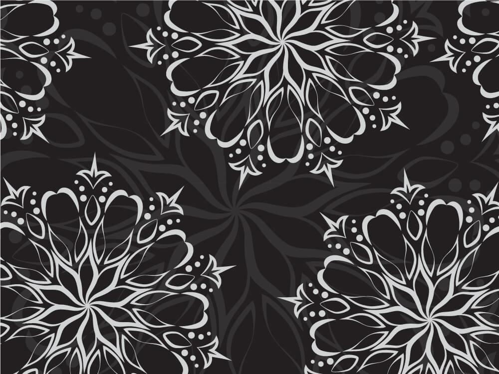 White ornament on black background