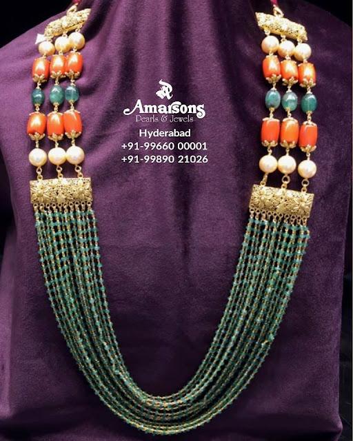 Multi Layers Green Beads Long Chain