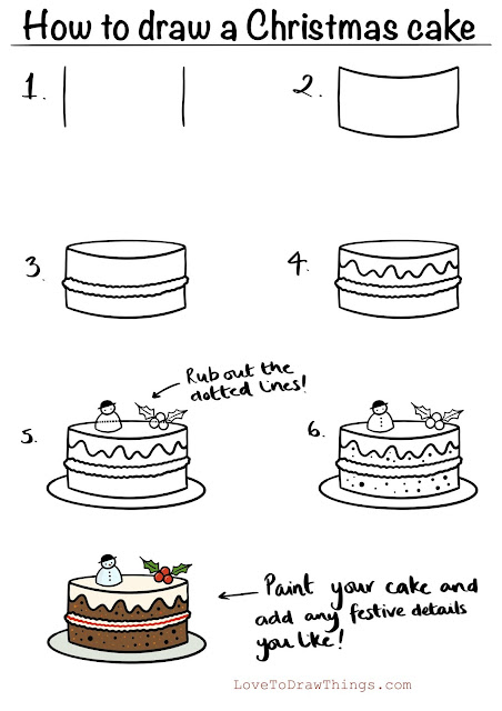 Easy step by step drawing tutorial Christmas cake