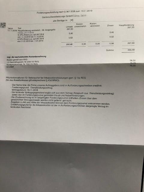 Scan: Forderung EuroTreuhand Inkasso für Centera Dienstleistungs GmbH / Seite 02