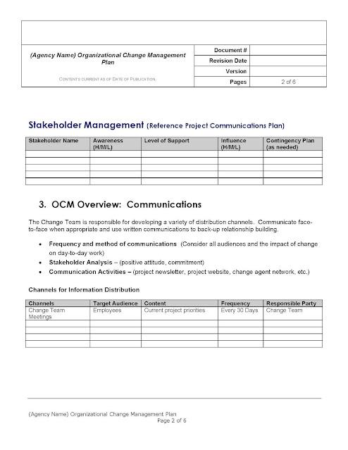 free organizational change management plan template