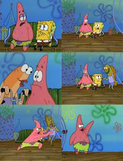Polosan meme spongebob dan patrick 91 - patrick marah terus melempar warga bikini bottom