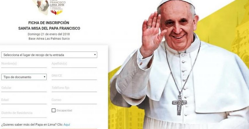 PAPA FRANCISCO EN PERÚ: Se inició inscripción virtual para misa en Las Palmas - www.elpapaenperu.com