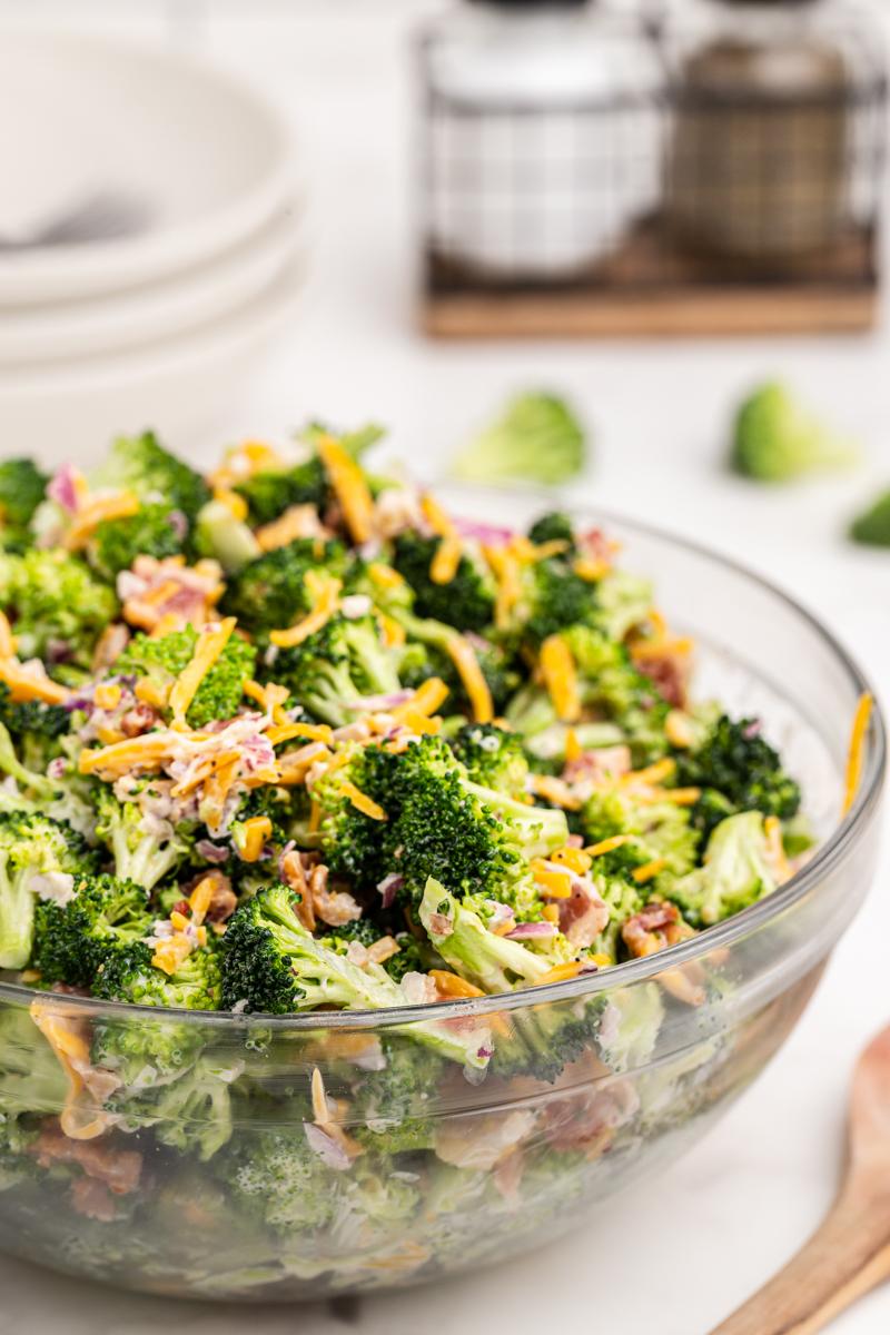 Keto Loaded Broccoli Salad in a glad bowl.