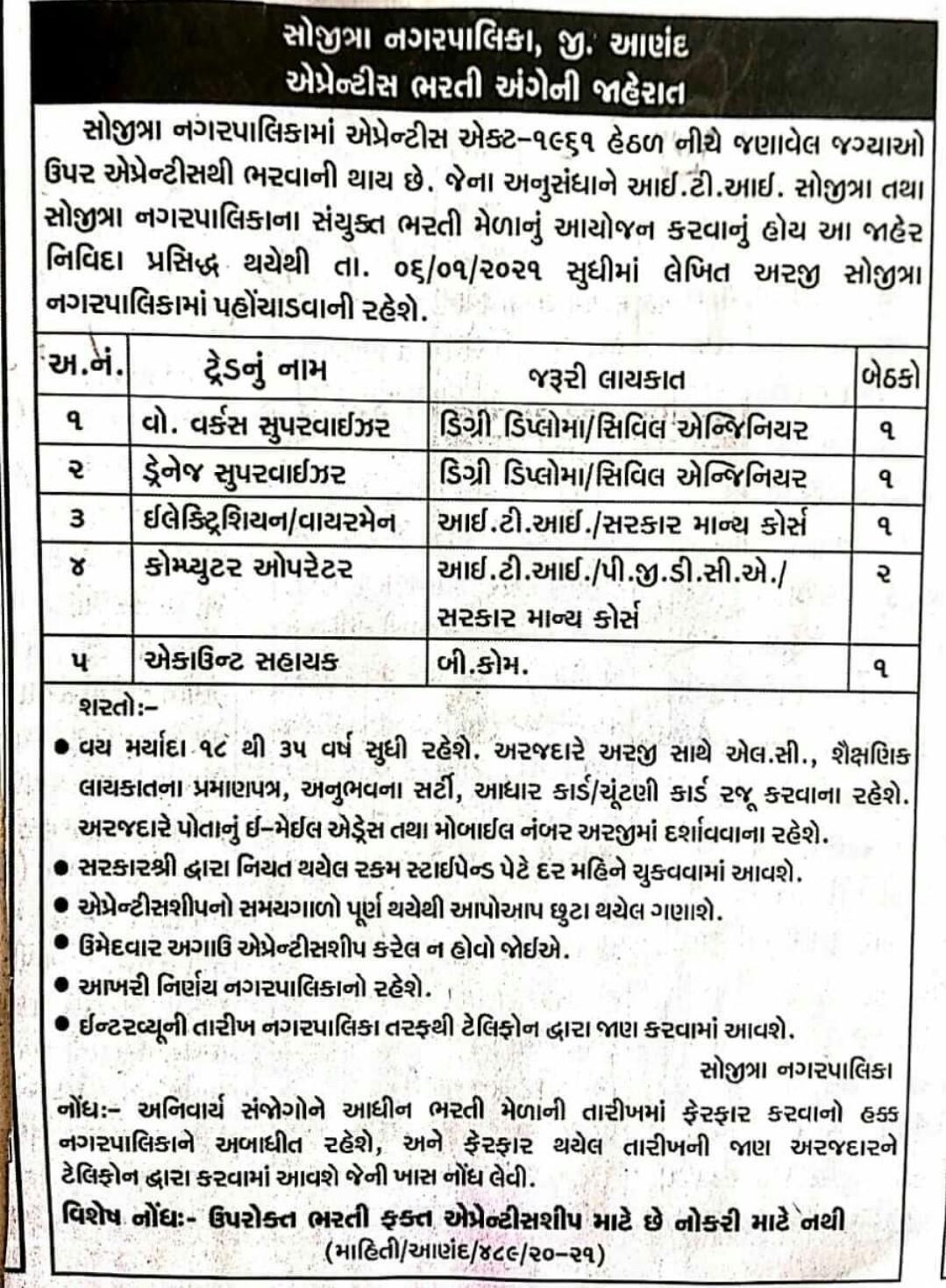 Sojitra Municipality  Apprentice Recruitment 2021