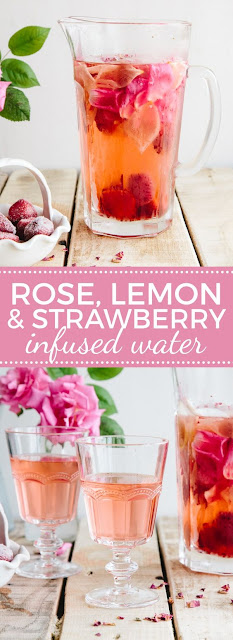 Rose, Lemon & Strawberry ínfused Water