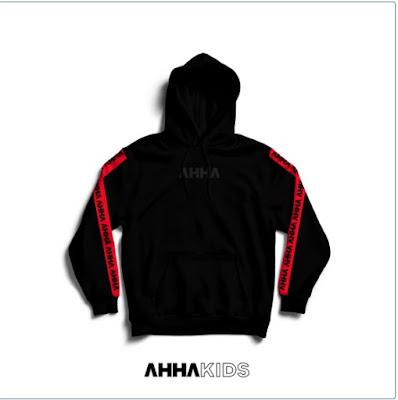 Hoodie Stripe Black Red - KIDS