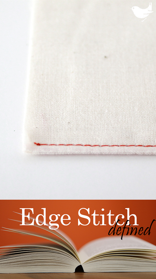 "Edge Stitch: Straight stitch sewn on a visible part of the project, 1/16"" or 1/8"" from and parallel to the fabric's edge, a seam, or another stitching line. When stitching use the edge of your pressure foot as a guide and adjust the needle position (left, center, or right) to create the distance you desire. Can be used to reinforce a seam or as a decorative finish. 