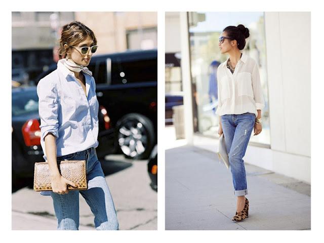 Джинсы + белая рубашка + клатч с текстурой + леопардовые туфли