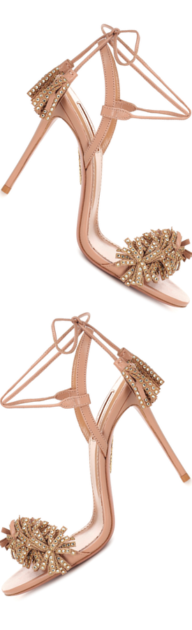 AQUAZZURA Wild Crystal 105 Leather Sandals