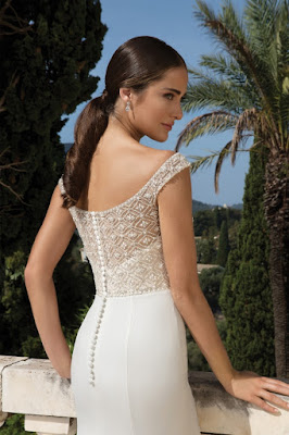 K'Mich Weddings - wedding planning - wedding dresses - beaded white crepe fit flare dress back - justin alexander