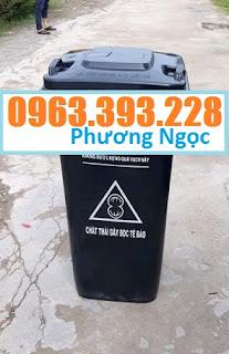 Thùng đựng rác công cộng 120L, thùng rác 2 bánh xe, thùng rác nhựa HDPE 120 Lít TR120L4