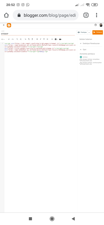 Tips cepat membuat sitemap di blogspot