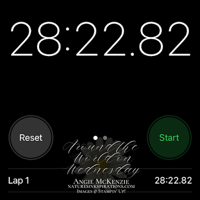 Stopwatch time for creating 10 note cards - whew! Just under the 30 minutes challenge time.