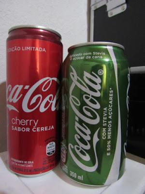 coca cola sabor cereja stevia 50% metade açucar light diet cherry coke verde nova novidade lançamento resenha