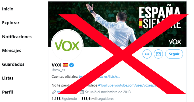 """Twitter bloquea temporalmente la cuenta oficial de Vox por """"incitación al odio"""""""
