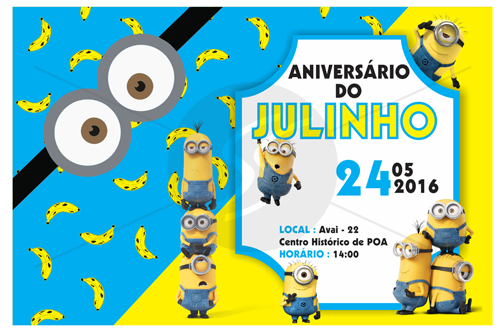 convite para festa de aniversário infantil minions