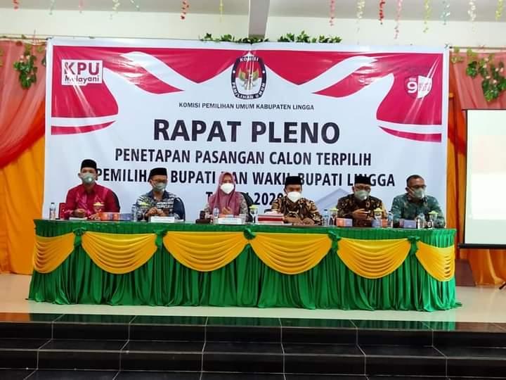 Gelar Rapat Pleno, KPU Lingga Tetapkan Pasangan Nizar- Neko Wesha Pawelloy Sebagai Calon Terpilih