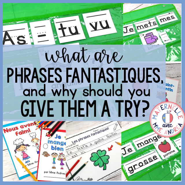 Looking for a way to help your French primary students to practice a TON of writing and literacy skills? Try using Phrases fantastiques in your pocket chart to help your students with sight words, 1:1, directionality, and MORE!
