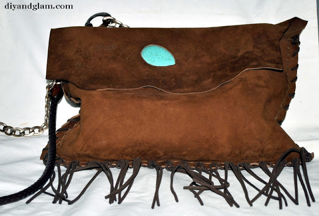 DIY bolso de Ante con turquesa incrustada