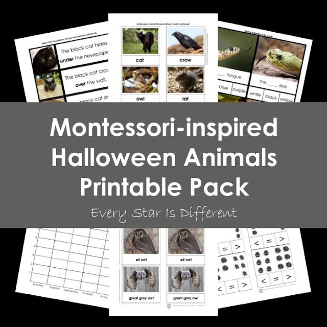 Montessori-inspired Halloween Animals Printable Pack