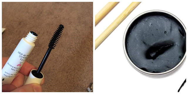 A picture collage of the Mad Hippie mineral mascara and the Clean Faced Cosmetics cake mascara