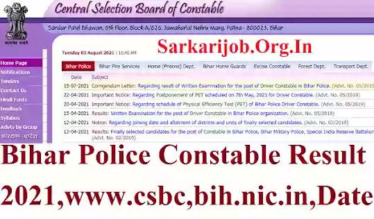 Bihar Police Result 2021