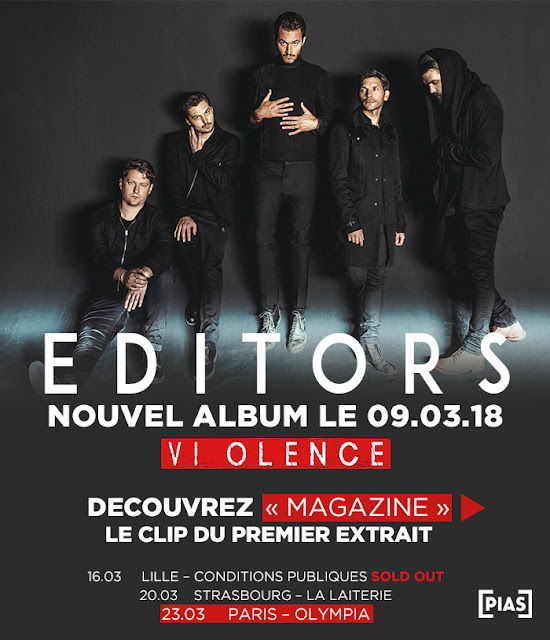 editors, violence editors, magazine editors, new single editors, editors concerts, editors tournée, editors groupe, editors artwork, nouveautés musique 2018