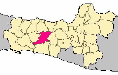 Gambar Letak Banjarnegara pada peta buta Jawa Tengah