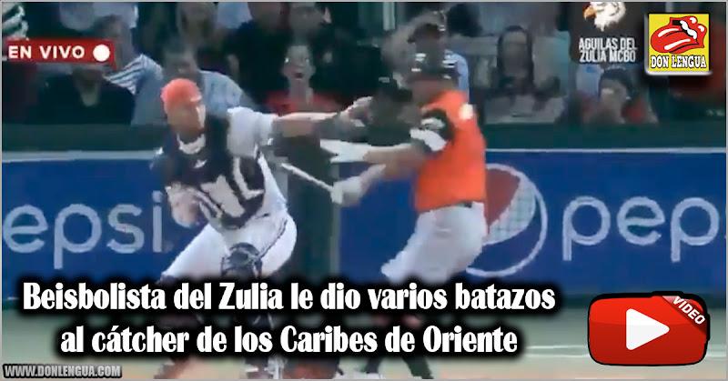 Beisbolista del Zulia le dio varios batazos al cátcher de los Caribes de Oriente