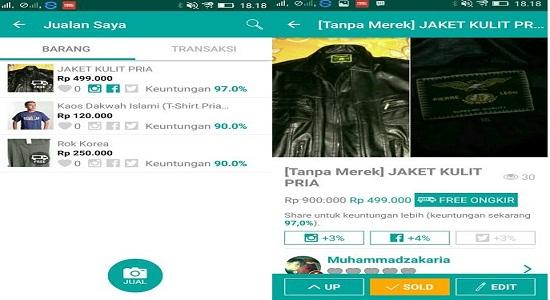 Hasil Penjualan Barang Prelo