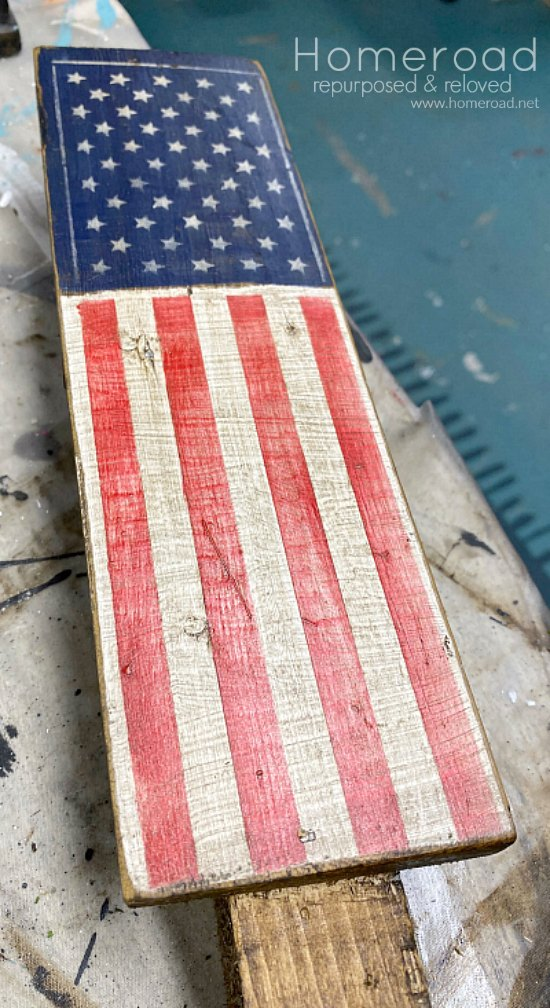 American flag plant stake with an antiqued finish