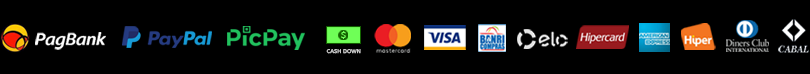 Transferência entre contas PagSeguro/PagBank, PayPal e PicPay, TED, DOC, cash down (dinheiro) e cartões de débito e crédito das principais bandeiras