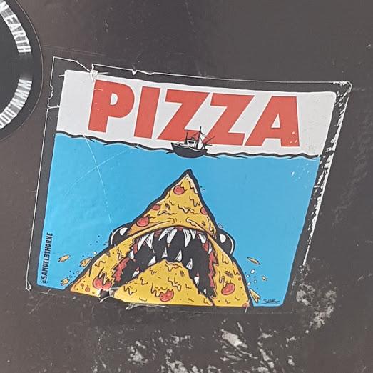 Pizza Shark sticker art by Samuel B Thorne at Elephant & Castle