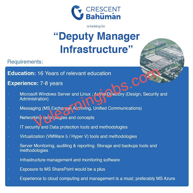 Crescent Bahuman Ltd Jobs 2020 In Pakistan For Deputy Manager Latest