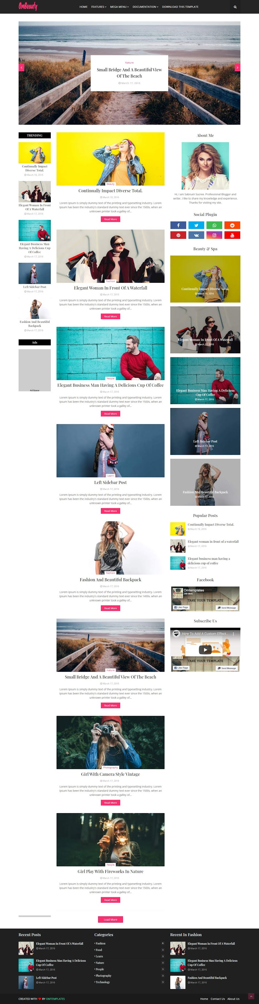 OmScreenShot of Beauty Blogger Template Without Footer Credit