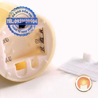 Bộ 5 đèn cầy pin tạo hình sáp chảy tim đèn lắc lư
